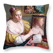 Girl With A Mirror, An Allegory Throw Pillow