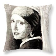 Girl With A Pearl Earring By Jan Vermeer Van Delft Throw Pillow
