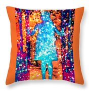 Girl With A Ponytail Throw Pillow