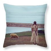 Girl With A Sheep Throw Pillow by Joana Kruse