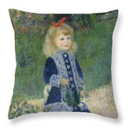 Girl With A Watering Can Throw Pillow