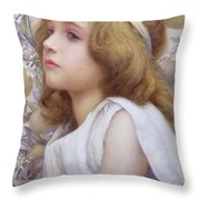 Girl With Apple Blossom Throw Pillow by Henry Ryland