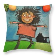Girl With Balloons And Dog Throw Pillow