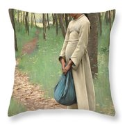 Girl With Bindle Throw Pillow