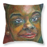 Girl With Diamond Earrings Throw Pillow