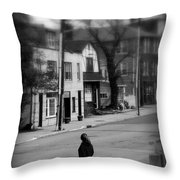 Girl With Dog - Somewhere In America Throw Pillow
