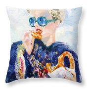 Girl With Glasses Eating Pretzel - Oil Portrait Throw Pillow