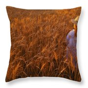 Girl With Hat In Field Throw Pillow
