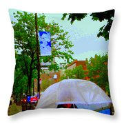 Girl With Large Umbrella Its Raining Its Pouring April Showers Montreal Scenes Carole Spandau Art Throw Pillow