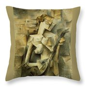 Girl With Mandolin Throw Pillow
