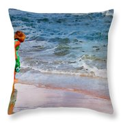 Girl With Pail Throw Pillow
