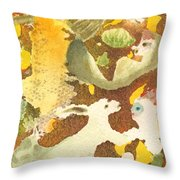 Girl With Rabbits Throw Pillow