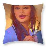 Girl With Sunglasses Throw Pillow