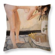 Girl With The Golden Towel Throw Pillow