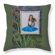 Girl With Tulips Throw Pillow