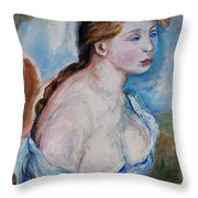 Girl With With Daisies Renoir Throw Pillow