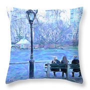Girls At Pond In Central Park Throw Pillow