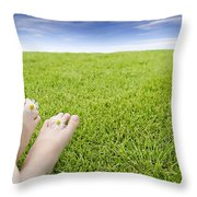 Girls Feet On Grass With Flowers Throw Pillow