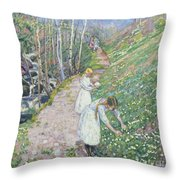 Girls Picking Wood Anemone Throw Pillow