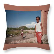 Girls Without Playground Throw Pillow