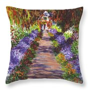 Giverny Gardens Pathway After Monet  Throw Pillow
