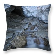 Glacial Creek Flowing From Blue Ice Throw Pillow