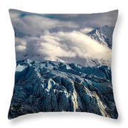 Glacier In The Clouds Throw Pillow