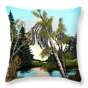 Glacier Peak After Bob Ross Throw Pillow by Barbara Griffin