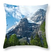 Glacier Seen From Kicking Horse Campground In Yoho Np-bc Throw Pillow