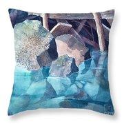 Glacier Stream Rocks Throw Pillow