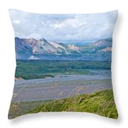 Glaciers And Mountains From Eielson Visitor's Center In Denali Np-ak  Throw Pillow