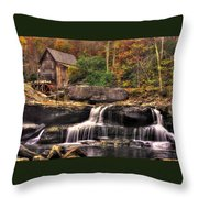 Glade Creek Grist Mill 1a - Autumn Late Afternoon Babcock State Park Wv Throw Pillow