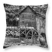Glade Creek Grist Mill Bw Throw Pillow