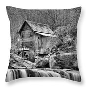 Glade Creek In Black And White Throw Pillow