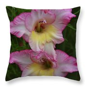 Gladiola Against Grasses Throw Pillow