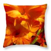Gladiola Coral Throw Pillow