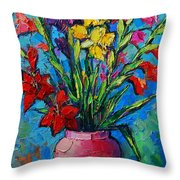 Gladioli In A Vase Throw Pillow