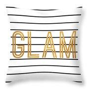 Glam Pinstripe Gold Throw Pillow