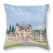 Glamis Castle Tayside  Throw Pillow by David Herbert