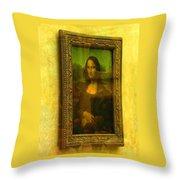 Glance At Mona Lisa Throw Pillow