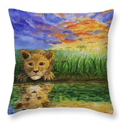 Glancing In The Water Throw Pillow