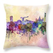 Glasgow Skyline In Watercolor Background Throw Pillow