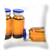 Glass Bottles With Medicine  Throw Pillow