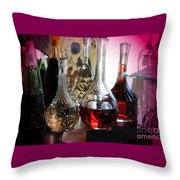 Glass Decanters And Glasses Throw Pillow
