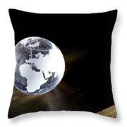 Glass Globe On Wooden Floor Throw Pillow