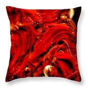 Glass Macro Abstract Crimson Swirls Throw Pillow