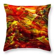 Glass Macro - Burning Embers Throw Pillow