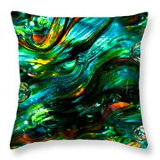 Glass Macro - Greens And Blues Throw Pillow