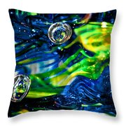 Glass Macro - Seahawks Blue And Green -13e4 Throw Pillow by David Patterson
