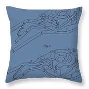 Glass Mold Patent On Blue Throw Pillow